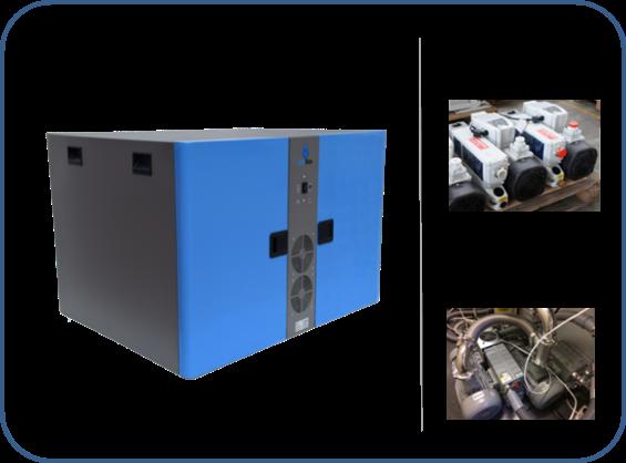 caja insonorizada para dos bombas de paletas rotativas de dos etapas serie SV leybold y serie MS agilent