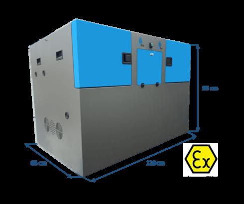 caja insonorizada para compresores de hidrógeno de alta presión y certificación atexX