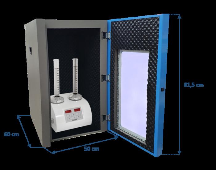 acoustic enclosure for tap density tester