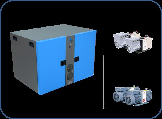 caja insonorizada para dos bombas de paletas rotativas de dos etapas serie HS Agilent y serie EM BocEdwards